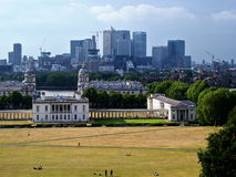London skyline from Greenwich. National Maritime Museum and Canary Wharf skyline, view from Greenwich Observatory Royalty Free Stock Photos