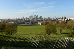 London Skyline,  Greenwich Park and Maritime Museum view from Greenwich Hill Royalty Free Stock Photography