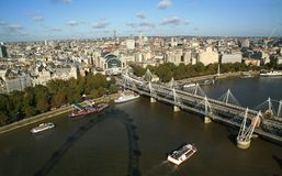 London skyline and the Hungerford bridge Stock Photo