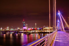 London skyline. From hungerford bridge by night royalty free stock photography