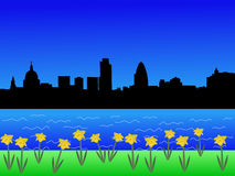 London-Skyline im Frühjahr Stockfotos