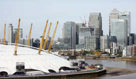 London skyline, include O2 Arena,  skyscrapers in the background Royalty Free Stock Images