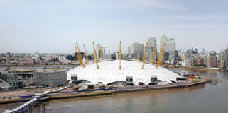 London skyline, include O2 Arena,  skyscrapers in the background Royalty Free Stock Image