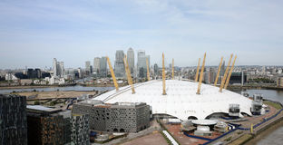 London skyline, include O2 Arena,  skyscrapers in the background Stock Image