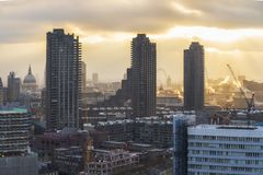 London skyline including St. Paul`s Cathedral at sunset, stock image