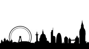 London skyline and landmarks. Vector illustration as silhouette of city of london with all the most famous monuments and buildings, as tower bridge, big ben Royalty Free Stock Photos