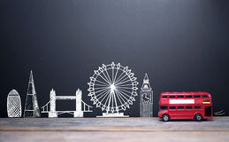 London skyline landmarks. London landmarks drawn on a blackboard with a double decker bus Royalty Free Stock Images