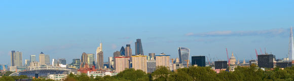 London Skyline Landmarks Panorama. Many famous building landmarks taken from Primrose Hill stock images