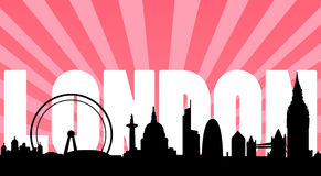 London skyline landmarks and text. Vector illustration as silhouette of city of london with designed background and the text london, with all the most famous Stock Photos