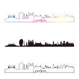 London skyline linear style with rainbow Royalty Free Stock Photos