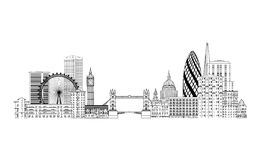 London skyline. London cityscape with famous landmarks and build Royalty Free Stock Image