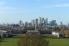 London Skyline, Maritime Museum view from Greenwich Hill Stock Image