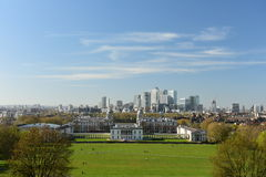 London Skyline, Maritime Museum view from Greenwich Hill Royalty Free Stock Photos