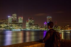 London skyline at night Stock Photo