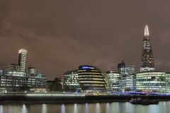 London Skyline at Night. The London Skyline at Night across the River Thames stock photo