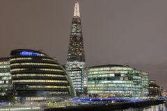 London Skyline at Night. The London Skyline at Night across the River Thames royalty free stock image