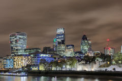 London Skyline at Night. The London Skyline at Night across the River Thames Stock Image