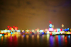 London skyline at night. Illuminated bridge over the thames, blurred bokeh royalty free stock photo