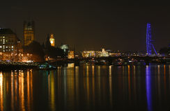 London Skyline, Night. London skyline, include London Eye, Big Ben and Victoria Tower, seen from South Bank Stock Image