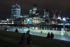 London Skyline at Night. The London Skyline at Night. Looking across the river Thames Royalty Free Stock Images