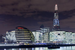 London Skyline at Night. The London Skyline at Night. Looking across the river Thames Royalty Free Stock Photography