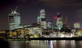 London Skyline at Night. The London Skyline at Night. Looking across the river Thames stock photos