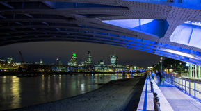 London Skyline at Night. The London Skyline at Night. Looking across the River Thames Stock Image