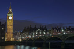 London Skyline at Night. The London Skyline at Night. Looking across the river Thames towards Big Ben and the Houses of Parliament stock image