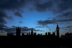 London Skyline at Night. The London Skyline at Night. Looking across the river Thames towards Big Ben and the Houses of Parliament Royalty Free Stock Photo