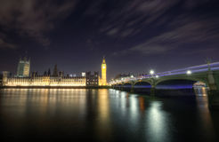 London Skyline at Night. The London Skyline at Night. Looking across the river Thames towards Big Ben and the Houses of Parliament Stock Photos