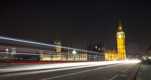 London Skyline at Night. The London Skyline at Night. Looking across Westminster Birdge towards Big Ben and the Houses of Parliament stock images