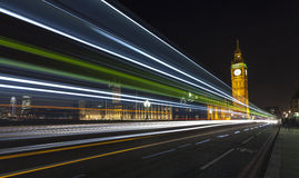 London Skyline at Night. The London Skyline at Night. Looking across Westminster Bridge at Big Ben and the houses of parliament royalty free stock image