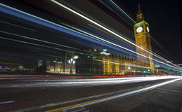 London Skyline at Night. The London Skyline at Night. Looking across Westminster Bridge at Big Ben and the houses of parliament royalty free stock photo