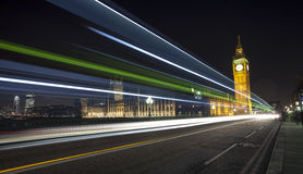 London Skyline at Night. The London Skyline at Night. Looking across Westminster Bridge towards Big Ben and the Houses of Parliament Royalty Free Stock Images
