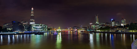 London Skyline at night. The night panoramic view of London upon the River Thames Royalty Free Stock Photography