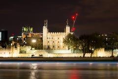 London skyline by night, panoramic view. UK.  stock photography