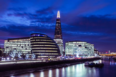 London skyline at night on River Thames Royalty Free Stock Photo