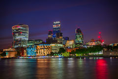 London Skyline by night. London night Skyline at the Thames stock photo