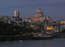London skyline night view. Skyline of london over river thames Royalty Free Stock Image