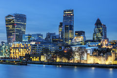 London skyline by night. View of London skyline by night stock photos