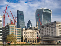 London skyline with office buildings seen from river Thames Royalty Free Stock Photos