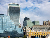 London skyline with office buildings seen from river Thames Royalty Free Stock Photo
