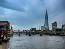 London skyline with office buildings seen from river Thames Royalty Free Stock Photography
