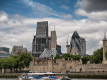 London skyline with office buildings seen from river Thames. London skyline with office buildings seen from the river Thames Stock Photos