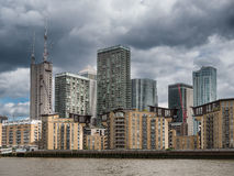 London skyline with office buildings seen from river Thames. London skyline with office buildings seen from the river Thames Stock Photo