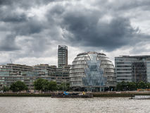 London skyline with office buildings seen from river Thames. London skyline with office buildings seen from the river Thames, UK Royalty Free Stock Photos