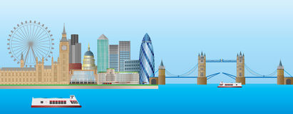 London-Skyline-Panorama-Abbildung Lizenzfreies Stockbild