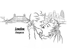 London Skyline Panorama with Honeymoon Couple in Foreground,. Hand drawn Vector Outline Artwork vector illustration