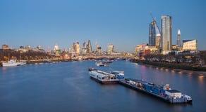 London skyline panorama at night, England the UK. River Thames,. London skyline panorama at night. England Royalty Free Stock Photos