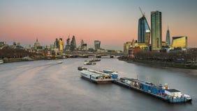 London skyline panorama at night, England the UK. River Thames,. London skyline panorama at night. England Royalty Free Stock Photography